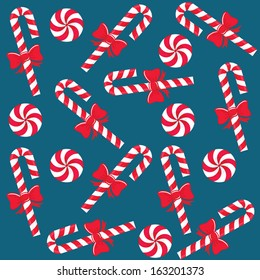 Candy cane and hard candies pattern. Christmas background. Vector illustration.