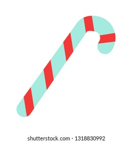 Candy cane icon in flat style. Vector illustration isolated on white background