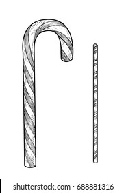 Candy cane illustration, drawing, engraving, ink, line art, vector
