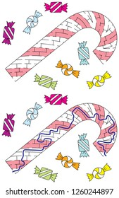 Candy cane maze for kids with a solution