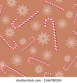 candy cane on a brown background merry christmas pattern seamless. Snowflakes