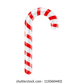 Candy cane. Red white striped 3d candy. Vector illustration isolated on white background