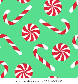 Candy cane seamless christmas pattern. Vector