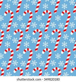 Candy Cane, Seamless Christmas pattern with sweets and snowflakes
