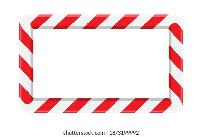 Candy cane striped frame or border for christmas. Red and white stripes pattern with white copy space background. Horizontal rectangle shape for seasonal design like christmas card or invitation.