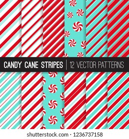 Candy Cane Stripes and Peppermints Vector Patterns in Red, Aqua Blue and White. Popular Christmas Background. Variable Thickness Diagonal Lines. Repeating Pattern Tile Swatches Included.