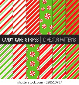 Candy Cane Stripes and Peppermints Vector Patterns in Red, Green and White. Popular Christmas Background. Variable thickness diagonal lines. Pattern Swatches Made with Global Colors