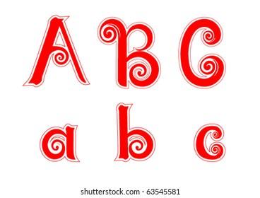 Candy Cane Swirl Letters A a B b C c