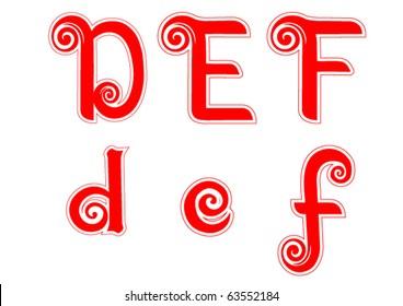 Candy Cane Swirl Letters D d E e F f