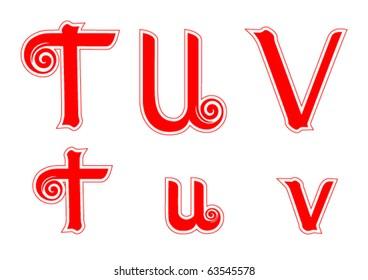 Candy Cane Swirl Letters T t U u V v