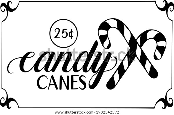 Candy Canes Christmas Sign Vector