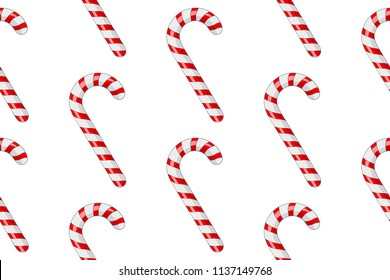 Candy canes. Red white striped candy in diagonal rows. Seamess pattern. Vector 3d illustration