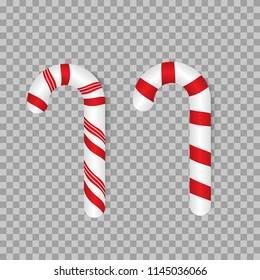 Candy canes. Traditional Christmas decoration. Vector. Isolated