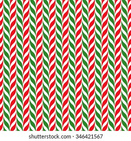 Candy canes vector background. Seamless xmas pattern with red, green and white candy cane stripes. Cute winter holiday background. Festive optical illusion illustration.