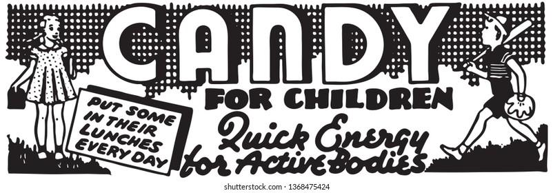 Candy For Children - Retro Ad Art Banner
