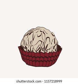 Candy chocolate truffles in foil and paper cup. Drawing by hand sketch doodles. Gray pink brown. Vector
