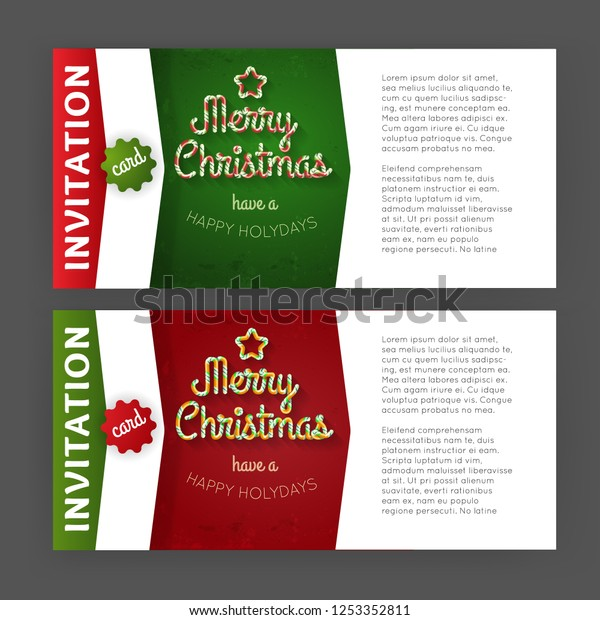 Candy Christmas Invitation Card Template Flat Stock Vector