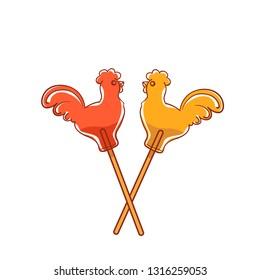 Candy Cockerel. Two lollipop on a stick