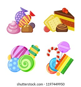 Candy collection concept. Colored and juicy lollipop biscuits chocolate and caramel sweets vector cartoon set isolated on white background