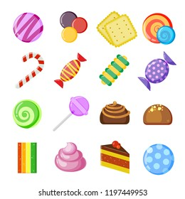 Candy collection icons. Colored and juicy lollipop, biscuits, chocolate and caramel sweets, vector cartoon set isolated on white background