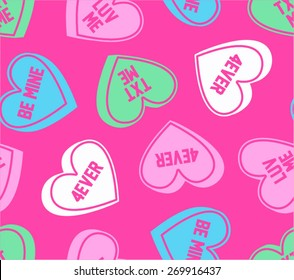Candy Conversation Hearts Seamless