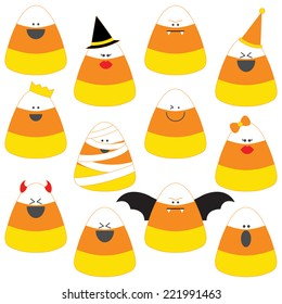 Candy Corn Clip Art Set. Candy Corn in Halloween costumes graphics created using vector software.
