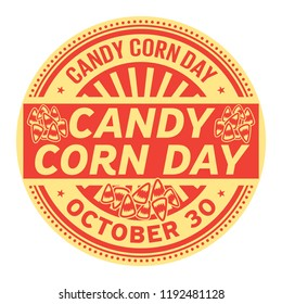 Candy Corn Day, October 30, rubber stamp, vector Illustration
