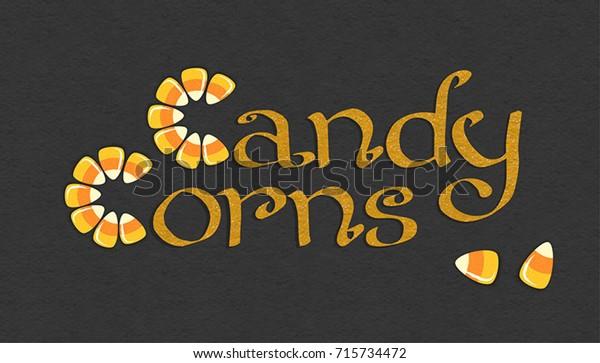 Candy Corn Halloween Sweets Halloween Postcard Stock Vector