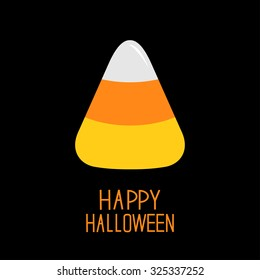 Candy corn. Happy Halloween card. Flat design.  Vector illustration