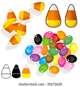 Candy corn and jelly beans.  Vector set includes various angles, silhouettes, and close-ups.