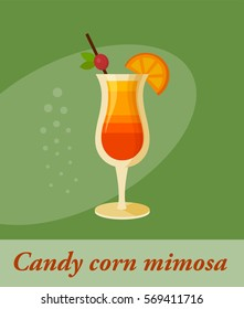 Candy corn mimosa cocktail menu item or any kind of design. Party drink in circle icon vector illustration
