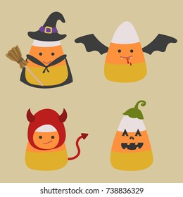 Candy corn wearing halloween costumes including witch, bat, devil, and Jack-o-lantern. Cute Candy corn vector cartoon and illustration.