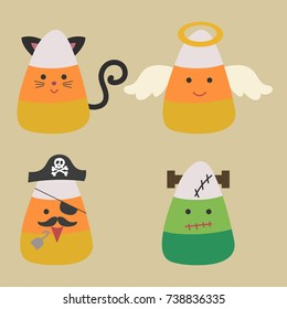 Candy corn wearing halloween costumes including black cat, angel, pirate, and frankenstein. Cute Candy corn vector cartoon and illustration.