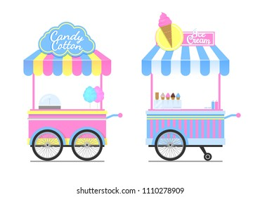 Candy cotton and ice cream wagons vector pattern, isolated on white illustration of mobile shops templates, cute wagon with wheels, striped design