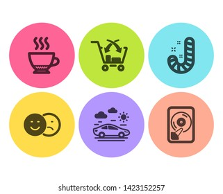 Candy, Cross sell and Car travel icons simple set. Espresso, Like and Hdd signs. Lollypop, Market retail. Flat candy icon. Circle button. Vector