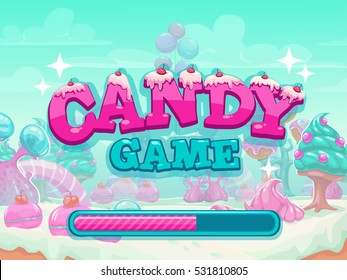 Candy game title loading screen. Sweet world application starting page, fantasy cartoon vector  illustration.