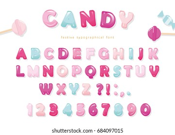 Candy glossy font design. Pastel pink and blue ABC letters and numbers. Sweets for girls.