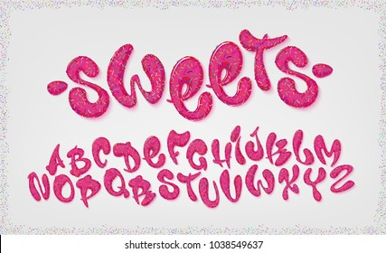 Candy hand drawn typeset, sweet alphabet, vector illustration. Abc