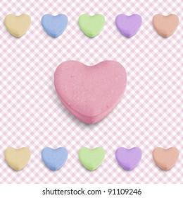 Candy heart background for new girl born announcement
