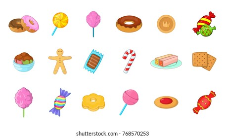 Candy icon set. Cartoon set of candy vector icons for your web design isolated on white background