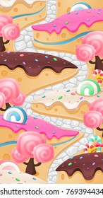 Candy land vertical image background for video game level map