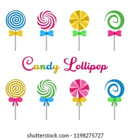 candy lollipop round spiral delicious flat design cartoon vector illustration - set of sweet colorfull candys