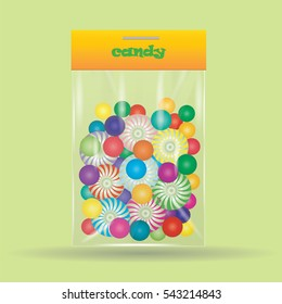 candy lollipop a sweet in the assortment of colored transparent bag isolated on a green background art creative design element vector illustration