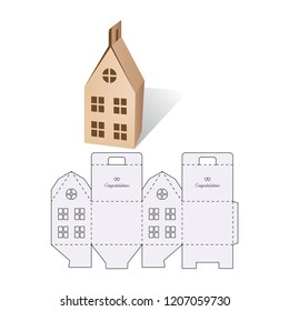 Candy model box of house. Retail Box with Die-cut Layout. Package Template. Vector Illustration of Box.
