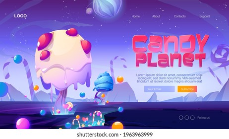 Candy planet cartoon landing page with fantasy alien trees and sweets. Magic unusual nature landscape for computer game, fairy tale cosmic background with beautiful strange plants, vector web banner