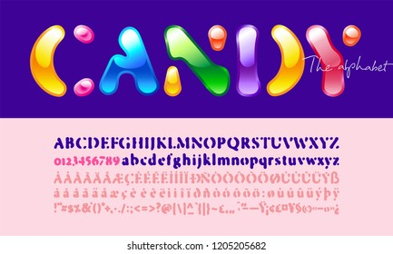 Candy Sans Serif Font. Stylized modern alphabet for branding projects, children' books titles, notebooks, brochures, advertising, homeware design, packaging, magazines, posters, flyers. Vector