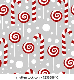 Candy seamless christmas pattern. Vector winter holidays print for textile, wallpaper, fabric.
