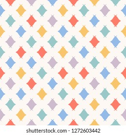 Candy seamless pattern. Simple colorful minimalist vector texture with small candies, rhombuses. Cute abstract geometric minimal repeated background. Kids fashion design for decor, fabric, wallpapers