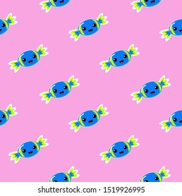 Candy seamless vector pattern. Blue yellow sugar candy on pink background. Kawaii sweets candy.