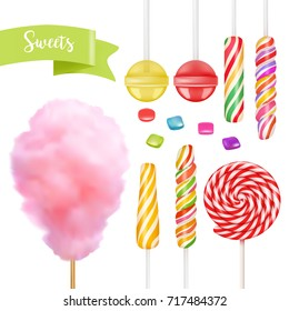 Candy set. Swirl caramel, cotton candy, sweet lollipop. 3d vector icon